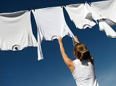 Girl, Blue Sky And White Laundry
