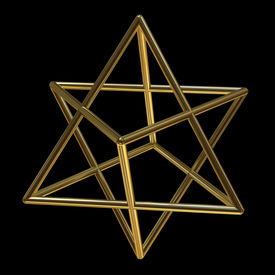 stock photo of tetrahedron  - Merkaba symbol made of gold isolated on black background - JPG