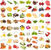 A large collection of food, fruit, berries vegetables , isolated on a white background