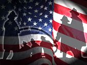 stock photo of firefighter  - silhouette of firefighters on a american flag - JPG