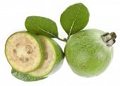 Feijoa fruit with  leaves isolated over white