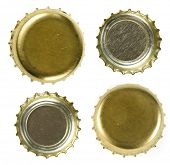 beer bottle caps   Isolated on white background.