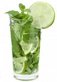Fresh mojito cocktail isolated on white background.
