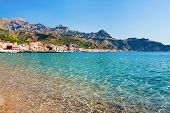 View On Taormina And Gardini Naxos Beach, Sicily