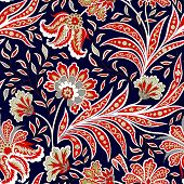 Floral Pattern. Flourish Tiled Oriental Ethnic Background. Arabic Ornament With Fantastic Flowers An poster