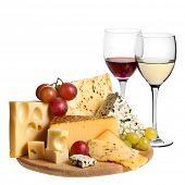 picture of brie cheese  - Grape wine with cheese isolation  on white background - JPG