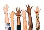 Diversity hands raised up gesture poster