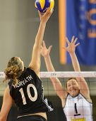 DEBRECEN, HUNGARY - JULY 9: Dora Horvath (in black 10) in action a CEV European League woman's volle