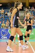 DEBRECEN, HUNGARY - JULY 9: Dora Horvath (C) celebrates at a CEV European League woman's volleyball