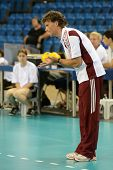 DEBRECEN, HUNGARY - JULY 9: Zoltan Jokay (hungarian teams trainer) in action at a CEV European League woman's volleyball game Hungary (black) vs Israel (white) on July 9, 2011 in Debrecen, Hungary.