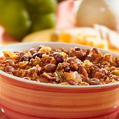 bowl of chili with beans and beef closeup