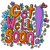 stock photo of get well soon  - An image of a get well soon floral design drawing - JPG