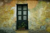 A window with a yellow wall