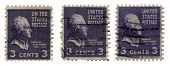 USA â?? CIRCA 1938: A trio of three cent stamps printed in USA as part of the Presidential issue of 1938 and  depict a portrait of Thomas Jefferson, circa 1938.