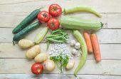 Fresh Farmers Market Vegetables. Healthy Eating. Vegetarian Food, Organic Food. Vegetables On Table poster