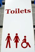 Sign. Toilets Sign. Toilets For Men,Women, And Disabled People
