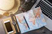Accessories for travel or summer vacation. Travel background, top view poster