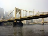 Twin Bridges In Haze