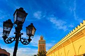 Morocco:  Street Lamp And Exterior Mosque Wall With Minaret