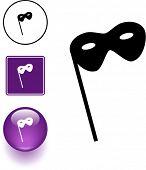 masquerade symbol sign and button