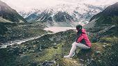 Mountain Hiker Traveling In Wilderness Landscape. poster