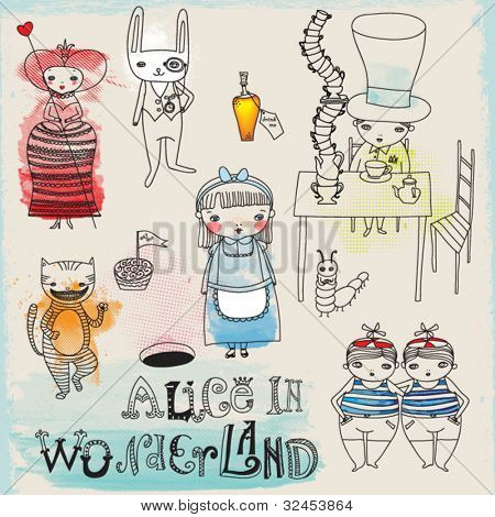 Alice in Wonderland hand drawn