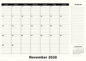 November 2020 Monthly Business Desk Pad Calendar. November 2020 Calendar Planner With To-do List And poster