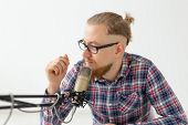 Radio Host, Streamer And Blogger Concept - Close-up Of Handsome Man Working As Radio Host At Radio S poster