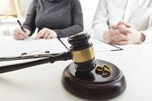 Divorce Concept. Hands Of Wife, Husband Signing Decree Of Divorce, Canceling Marriage, Legal Separat poster