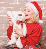 Cute And Tender Gift. Woman Santa Hat Hug Soft Toy Bear. Best Gift Ever. Girl Happy Celebrate New Ye poster