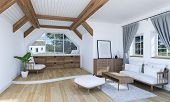 White Living Room Interior With Wooden Furniture And Split Level Floor, 3d Rendering poster