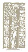 De pie en madera Maya