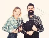 Couple In Love Getting Ready For Barbecue. Picnic And Barbecue. Man Bearded Hipster And Girl Ready F poster