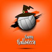 Happy Halloween Pattern. Volleyball Template Design. Volleyball Ball With Witch Hat. Design Pattern  poster