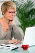 grandmother using laptop