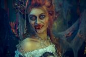 Vampires. Bloodthirsty female vampire in the old abandoned castle. Vintage style. Halloween. poster