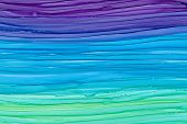 Horizontal Colorful Brush Waves Texture Background. Hand Drawn Violet, Blue And Green Liquid Alcohol poster