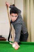 Beautiful Man Playing Billiard