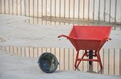 Concrete Wheel Barrow With Can