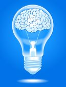 the concept of the emergence of the idea.shining lamp with the brain. Brain storming. File is saved