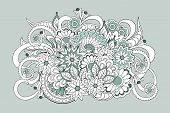 Hand Drawn Zen Tangled Floral Composition  For Decorate Cards, Dishes,  Porcelain, Stationery, Cases poster