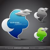 Vector Ramadan Kareem icons set with moon and glossy clouds in blue, green and grey color with space