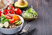 Fresh Healthy Salad With Quinoa, Cherry Tomatoes And Mixed Greens, Avocado, Egg And Micro Greens On  poster