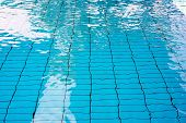 Pure Blue Water In The Pool. Water Background. Swimming Pool Bottom Caustics Ripple And Flow With Wa poster