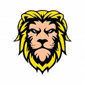 Illustration Of Lion Head Design Concept Outline Of The Wild Environment. Lion Head Line Art Design  poster