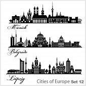City In Europe - Munich, Belgrade, Leipzig. Detailed Architecture. Trendy Vector Illustration. poster