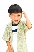 Full Length Casual Smiling Asian  Little Boy Isolated On White Background