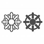 Ship Steering Wheel Line And Glyph Icon. Boat Steering Wheel Vector Illustration Isolated On White.  poster