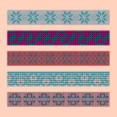 Norwegian Traditional Ornament. Borders With Floral Ornament. Knitting Pattern. Vector. poster