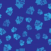 Blue Rising Cost Of Housing Icon Isolated Seamless Pattern On Blue Background. Rising Price Of Real  poster